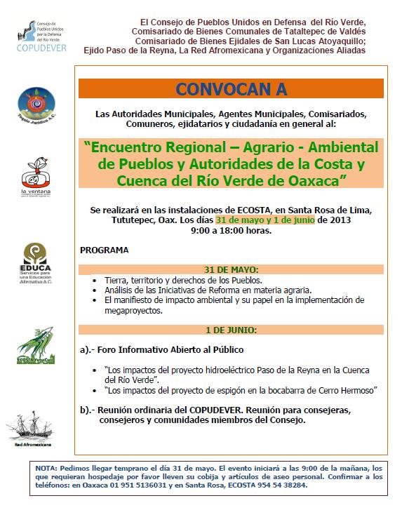 Encuentro Regional Agrario-Ambiental de Pueblos y Autoridades de la Costa y Cuenca del Ro Verde en Oaxaca