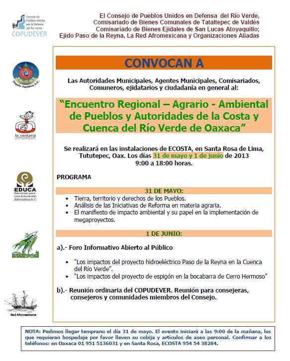 Encuentro Regional Agrario-Ambiental de Pueblos y Autoridades de la Costa y Cuenca del Río Verde en Oaxaca