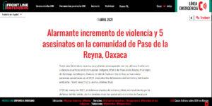 Alarmante incremento de violencia y 5 asesinatos en la comunidad de Paso de la Reyna, Oaxaca: Front Line Defenders